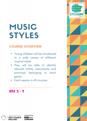 music styles (5-7yo's) - 6-week online course - pick your weekly time slot
