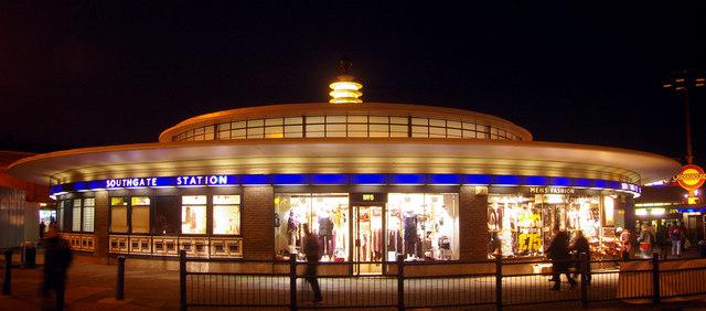 southgate tube station at night