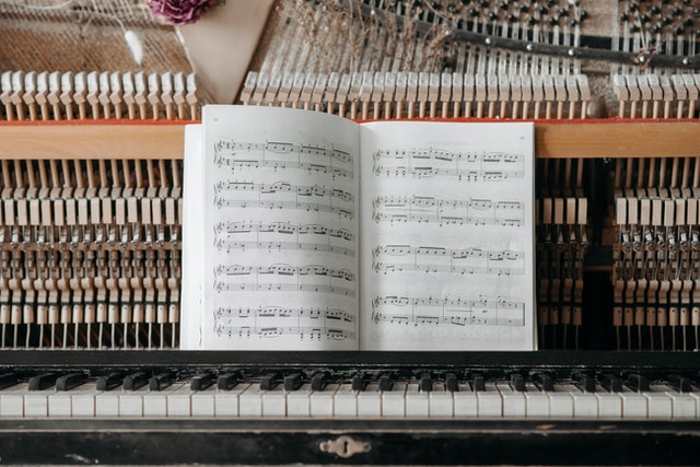 music book on piano