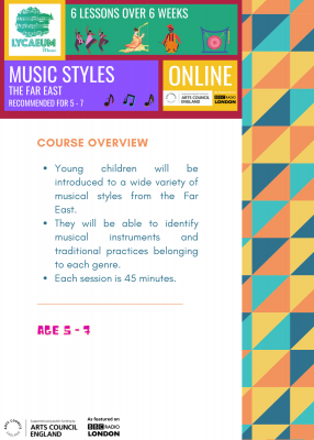 music styles: the far east (5 - 7yo) - pick your weekly time slot