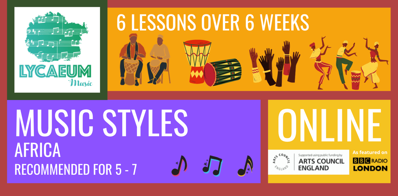 music styles: africa (5 - 7yo) - pick your weekly time slot